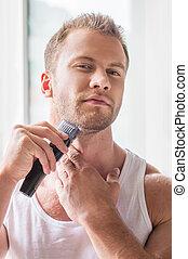 Maquinilla de afeitar, eléctrico, viruta, joven, viruta, hombre, guapo
