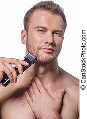 Maquinilla de afeitar, eléctrico, viruta,  Shirtless, joven, viruta, guapo, hombre
