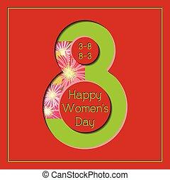 março, coloridos, saudação, mulheres, floral 8, dia, cartão, feliz