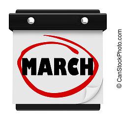 março, lembrar, programa, parede, mês, palavra, calendário