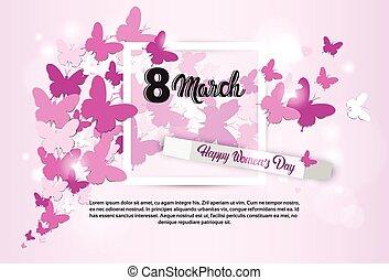 março, saudação, 8, internacional, dia, cartão, mulheres