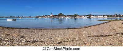 maré, paisagem, em., porto, sussex, inglaterra, em, velejando, panorama, vila, bosham, pitoresco, barcos, setembro, cedo, oeste