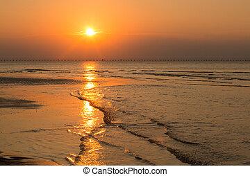marée, coucher soleil, bas