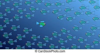 marée, fish, comique, contre, natation