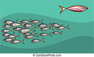 marée, fish, contre, natation