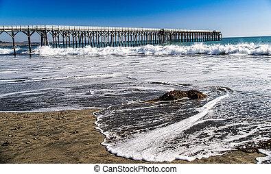 marée, jetée, levée, océan
