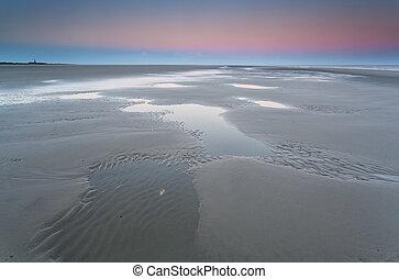 marée, levers de soleil, nord, bas, mer