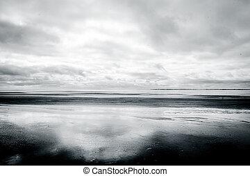 marée, plage, bas