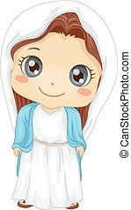 maría, niña, virgen, niño, ilustración, disfraz
