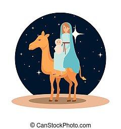 maría virgen, con, jesús, bebé, en, camello