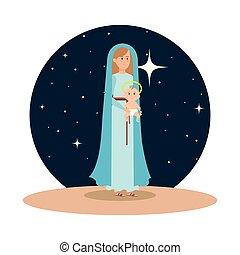 maría virgen, con, jesús, bebé, en, noche