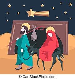 maría, y, joseph, huya, a, egipto, natividad, jesús, ilustración