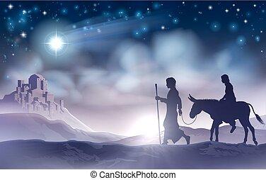 maría, y, joseph, natividad, navidad, ilustración