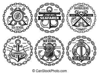 marítimo, marinha, ícones, frota, náutico