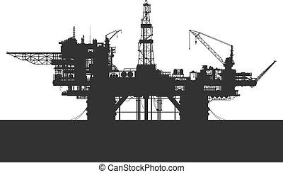 mar, óleo, rig., plataforma óleo, em, a, sea., detalhado,...