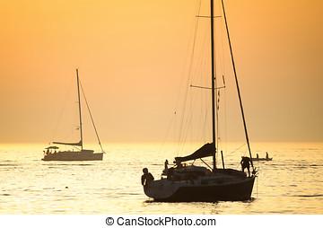 mar, adriático, barcos, ocaso