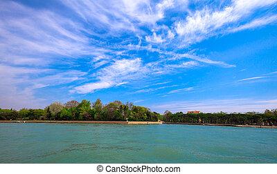 mar adriático, e, a, costa, de, itália, perto, veneza, paisagem natureza