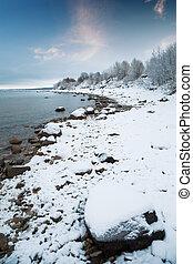 mar báltico, em, winter.