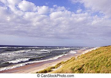 mar báltico, paisagem, com, nuvens