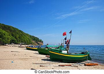mar báltico, praia, com, barcos pesca, em, gdynia