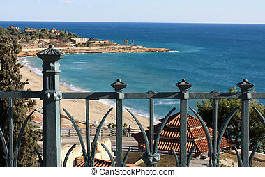 mar, balcony., vista
