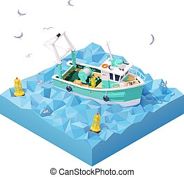 mar, barco pesca, vetorial, isometric