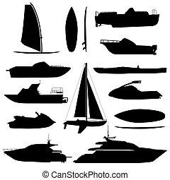 mar, barco, silhouettes., barcos, adapted, a, el, mar abierto, para, costero, envío, comercio, y, travelling., vector, plano, estilo, caricatura, ilustración, aislado, blanco, plano de fondo