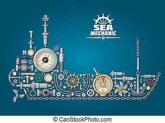 mar, barco, silueta, con, equipo náutico