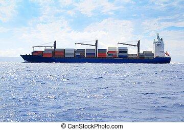 mar, carga, comerciante, barco, navegación, océano azul