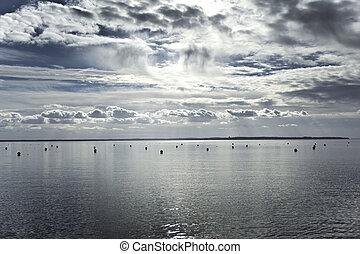 mar, cerca, burdeos, francia