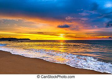 mar, coloridos, pôr do sol, sobre