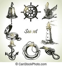 mar, conjunto, de, náutico, diseño, elements., mano, dibujado, ilustraciones