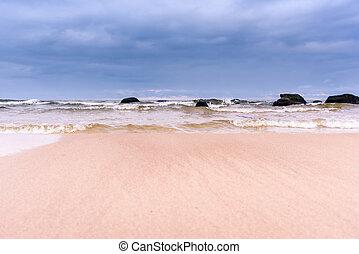 mar, día, tempestuoso