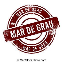 Mar de Grau - red round grunge button, stamp