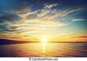 mar, em, sunset., gdansk, sopot, em, poland., báltico, sea.