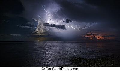 mar, encima, fuerte, eléctrico, tormenta