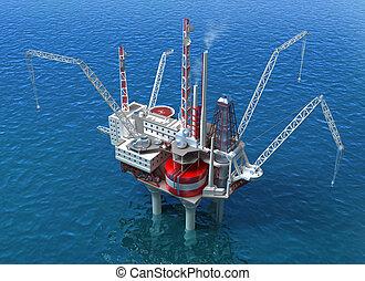 mar, equipamento óleo, perfurar, estrutura