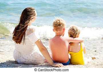 mar, família, relaxante, férias