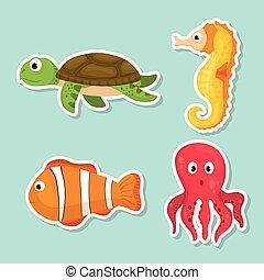 mar, fauna, caricatura