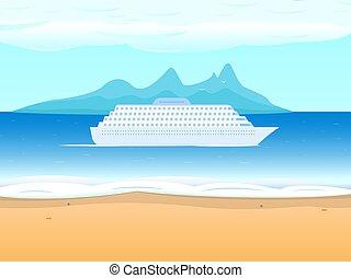 mar, forro, vetorial, fundo, navio cruzeiro