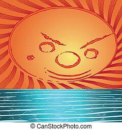 mar, fundo, pôr do sol
