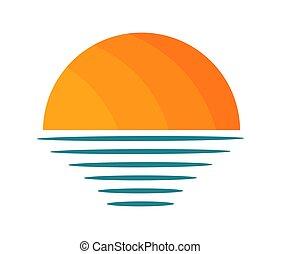 mar, icon., pôr do sol, sobre, sol