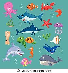 mar, jogo, animais, caricatura