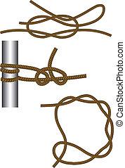 mar, knot:, recife, redondo, volta, e, metade, hitches, e, madeira, hitch.