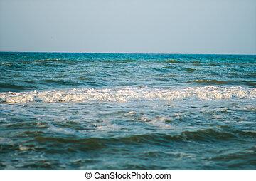 mar, ligado, céu azul, fundo
