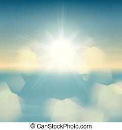 mar, luz, lente, luminoso, pôr do sol, sol