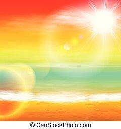 mar, luz, luminoso, pôr do sol, sol, lens.