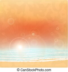 mar, luz, luminoso, pôr do sol, sol, lens., vector.