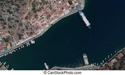 mar, maravilhoso, profundo, barcos, cidade, baía, drifting, ...