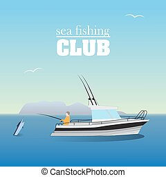 mar, marlin, pesca, en, el, barco